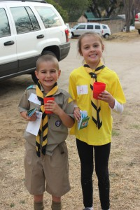 Randburg District Cub Skills Day: Corbin van Niekerk and Genevieve van Niekerk with the emergency kits they made